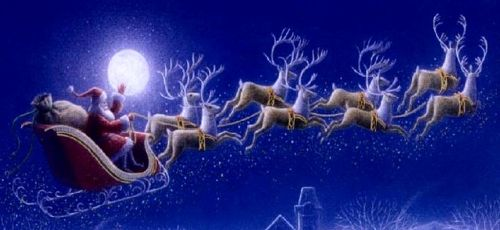 Santa's sleigh and reindeer