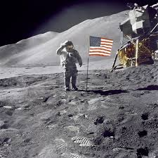 Moon landing and flag