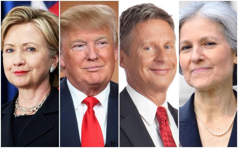 2016 presidential election 4-way: Hillary Clinton, Donald Trump, Gary Johnson, Jill Stein