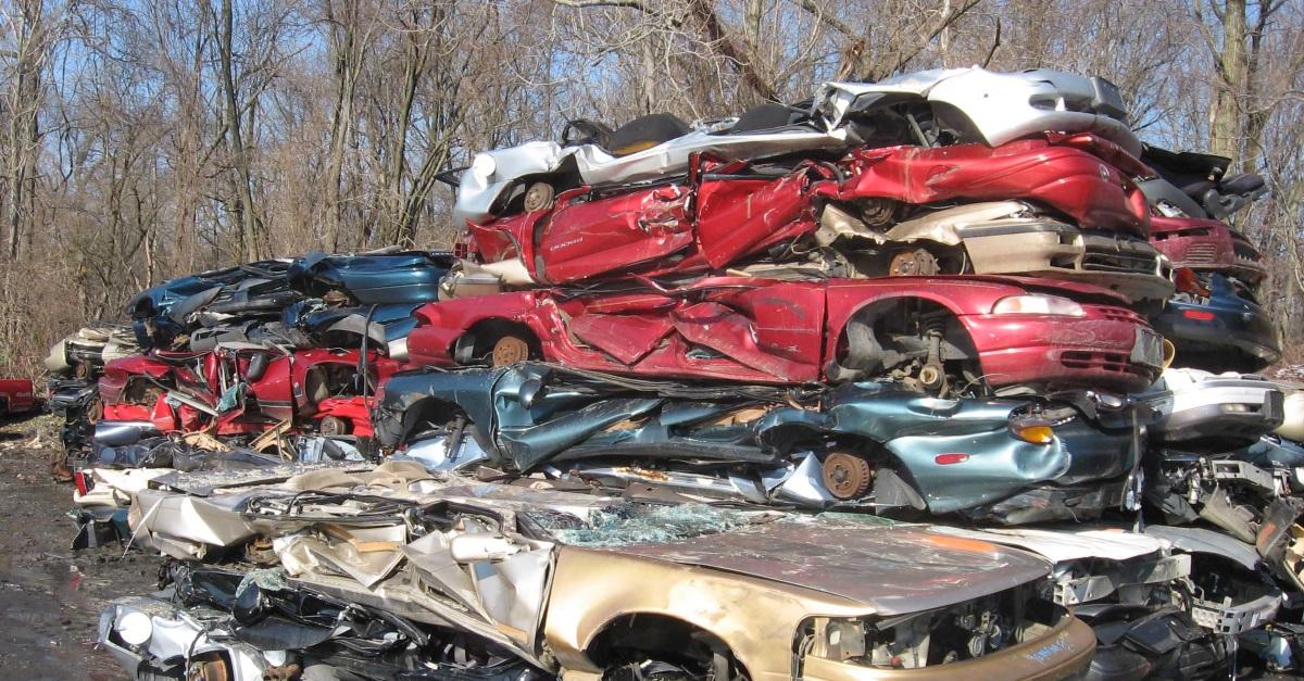 Auto scrapyard: cars crushed